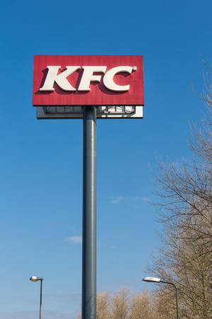 Lelystad, The Netherlands - February 22, 2018: Advertising column of KFC near a Dutch Motorway in Lelystad Editorial