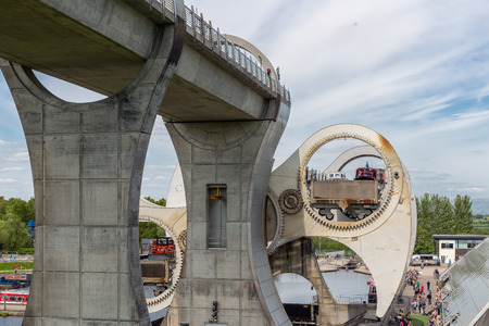 Falkirk, Scotland - May 19, 2018: Ships in Falkirk Wheel, rotating boat lift in Scotland, which connects the Forth and Clyde Canal with the Union Canal.