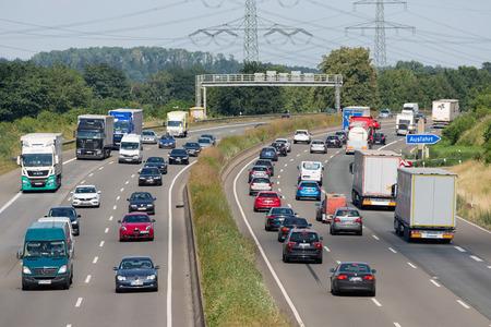 Eschweiler, Germany - June 28 2018: Highway with cars and trucs along german city Eschweiler and near Koln