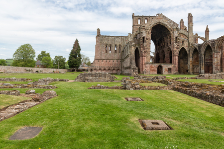 View at wall and ruins of Melrose abbey in Scottish borders Stock Photo