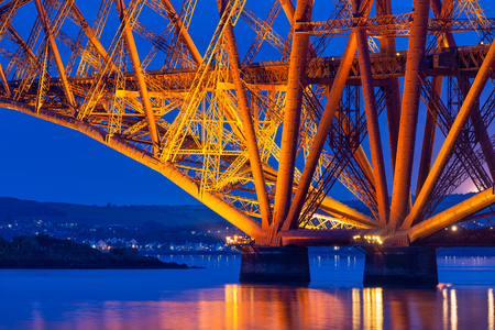 Evening view detail Forth Bridge, railway bridge over Firth of Forth near Queensferry in Scotland Stock Photo