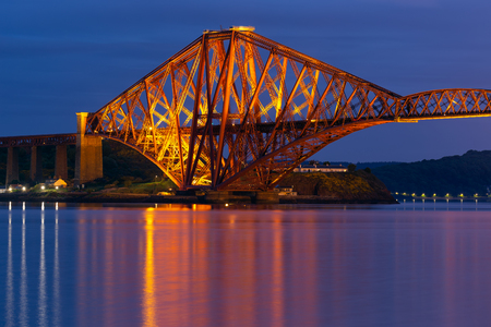 Evening view detail Forth Bridge, railway bridge over Firth of Forth near Queensferry in Scotland
