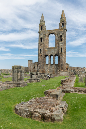 Graveyard with tombstones near foundations of ruin St Andrews Cathedral ,Scotland Stock Photo