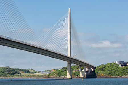 Queensferry Crossing, new road bridge over Firth of Forth near Queensferry in Scotland