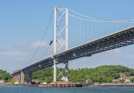 Bottom Forth road bridge over Firth of Forth near Queensferry in Scotland