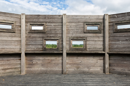 Hut with eyeholes for bird watching in Dutch national park