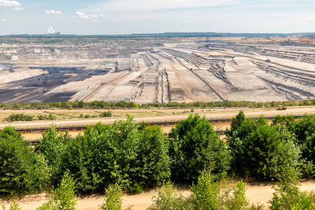 Aerial view at open pit mine Hambach with brown coal digging in Germany