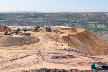 Brown coal open pit landscape with recycling raw materials in Garzweiler mine Germany