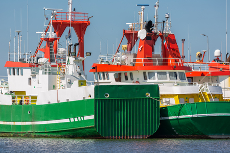 Supply vessels for offshore activities at North sea in harbor Lauwersoog, the Netherlands