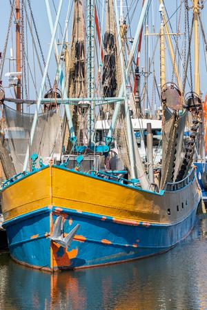 Shrimp fishing boat in Dutch harbor Lauwersoog Stock Photo