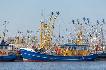 Shrimp fishing boats in Dutch harbor Lauwersoog Stock Photo