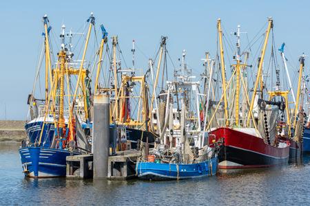 Shrimp fishing boats in Dutch harbor Lauwersoog Stock Photo