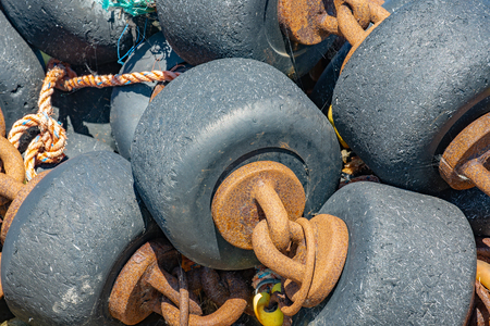 Harbor Lauwersoog with bobbins used by shrimp fishing nets at the Dutch Wadden sea