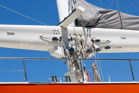 Luxury yacht with mast and rigging in harbor Lauwersoog, the Netherlands