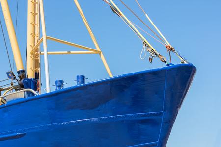 Ship bow shrimp fishing ship in Dutch harbor Lauwersoog Stock Photo