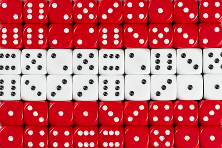 National flag of Austria in colorful background of dices