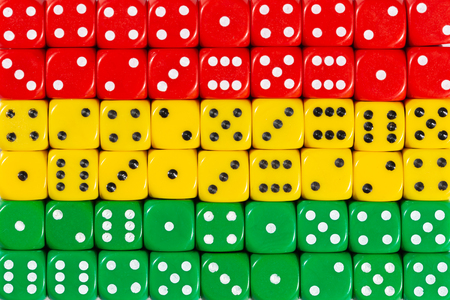 National flag of Bolivia in colorful background of dices