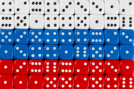 National flag of Russia in colorful background of dices