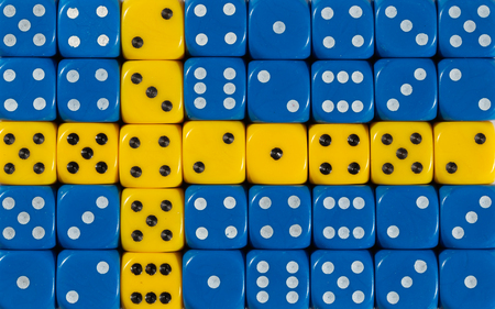 National flag of Sweden in colorful background of dices