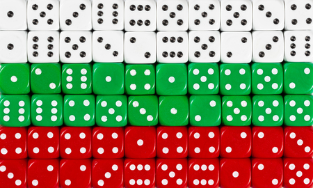 National flag of Bulgaria in colorful background of dices