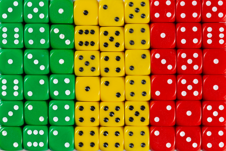 National flag of Mali in colorful background of dices