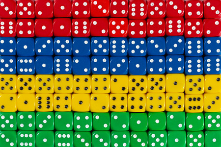 National flag of Mauritius in colorful background of dices