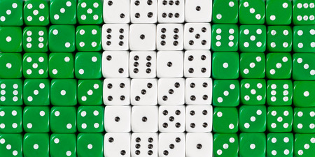 National flag of Nigeria in colorful background of dices