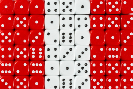 National flag of Peru in colorful background of dices