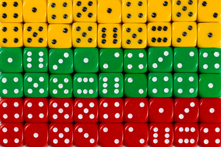 National flag of Lithunia in colorful background of dices