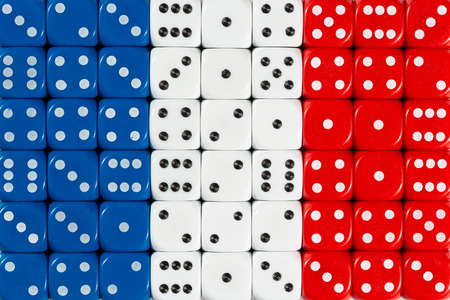 National flag of France in colorful background of dices Stock Photo
