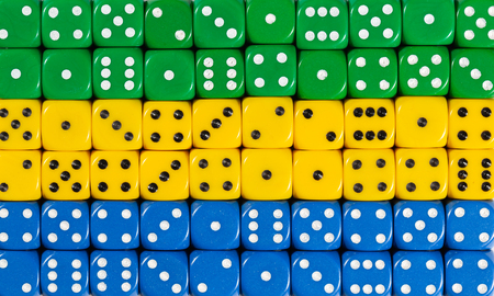 National flag of Gabon in colorful background of dices