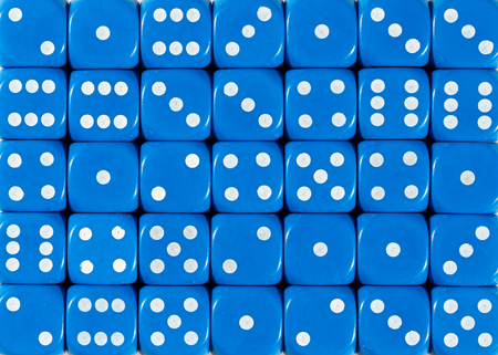 Pattern background of blue dices, random ordered Stok Fotoğraf