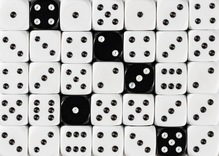 Pattern background of random ordered white dices with five black cubes Stok Fotoğraf