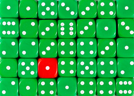 Pattern background of random ordered green dices with one red cube Stok Fotoğraf