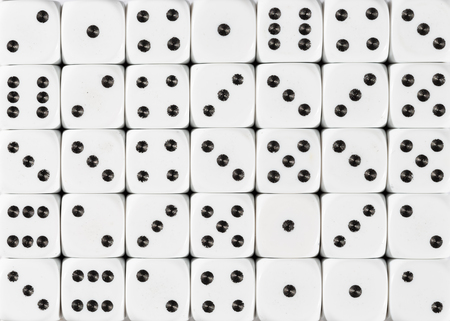 Pattern background of white dices, random ordered