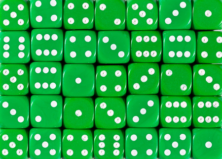 Pattern background of green dices, random ordered Stok Fotoğraf