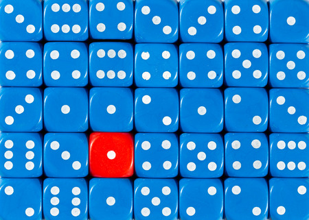 Pattern background of random ordered blue dices with one red cube Stok Fotoğraf