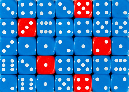 Pattern background of random ordered blue dices with five red cubes Stok Fotoğraf