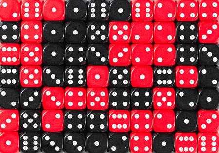 Pattern background of 70 random ordered black and red dices Stok Fotoğraf