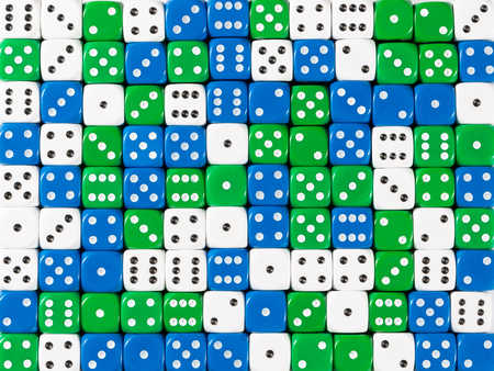 Pattern background of random ordered white, blue and green dices Stok Fotoğraf
