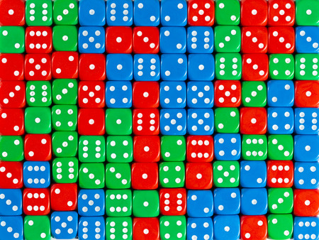 Pattern background of random ordered red, green and blue dices Stok Fotoğraf
