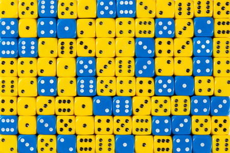 Pattern background of 140 random ordered blue and yellow dices