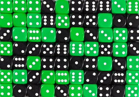 yellowPattern background of 70 random ordered black and green dices