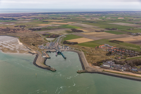Aerial view ferry terminal Het Horntje at Dutch island Texel in Wadden sea