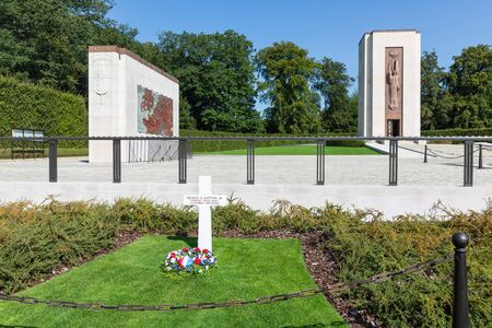 Hamm near Luxembourg city, Luxembourg - August 22, 2018: American WW2 Cemetery with memorial monument and grave of general Patton, commander third army in France and Germany