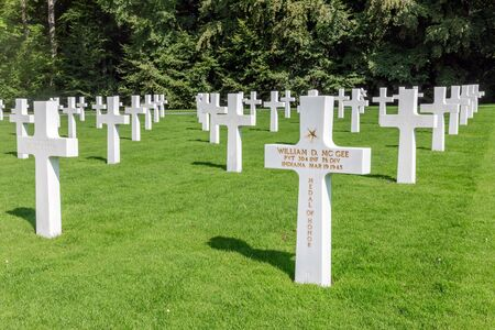 Hamm near Luxembourg city, Luxembourg - August 22, 2018: American WW2 Cemetery with headstones of 5073 buried soldiers including soldier William D McGee, awarded the medal of honor