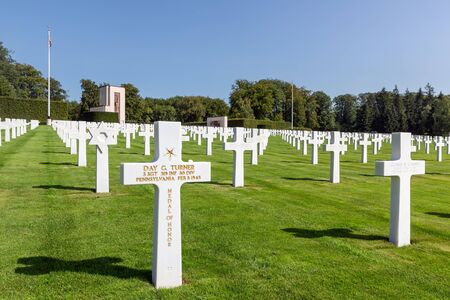Hamm near Luxembourg city, Luxembourg - August 22, 2018: American WW2 Cemetery with headstones of 5073 buried soldiers including sergeant Day G. Turner posthumously awarded the medal of honor