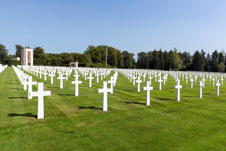 Hamm near Luxembourg city, Luxembourg - August 22, 2018: American WW2 Cemetery with memorial monument and headstones of 5073 buried soldiers