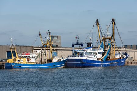 Dutch fishings cutters in harbor Vlissingen, The Netherlands