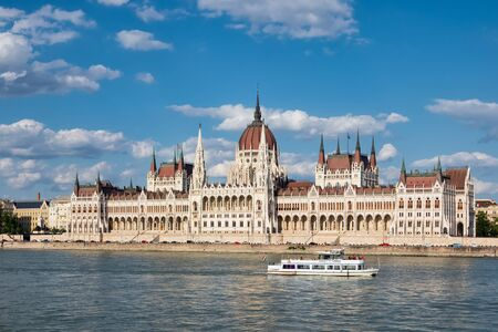 Hungarian Parliament Building along river Danube, seat of National Assembly of Hungary 写真素材